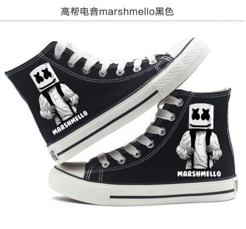 New DJ Electronic Music Marshmello high-top unisex canvas shoes