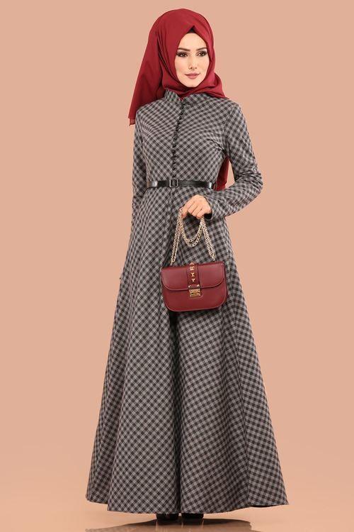 Modaselvim Elbise Minik Ekose Desenli Elbise 8378 D170 Gri Disney Characters Disney Princess Princess