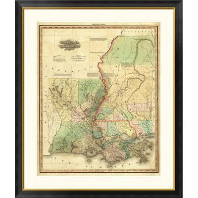 """Global Gallery Louisiana and Mississippi, 1823 by Henry S. Tanner Framed Graphic Art Size: 46"""" H x 39"""" W x 1.5"""" D"""
