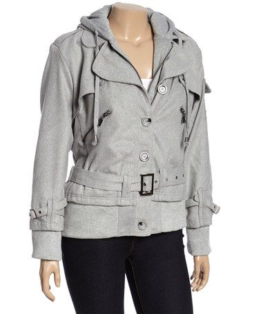 Another great find on #zulily! Heather Gray Belted Zipper Coat - Plus #zulilyfinds