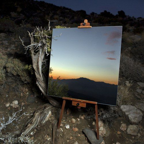 Photographs of Mirrors on Easels that Look Like Paintings in the Desert by Daniel Kukla