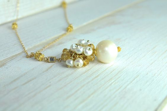 Pearl Drop Necklace Bridal Jewelry by LillyputLaneDesignCo on Etsy, $138.00