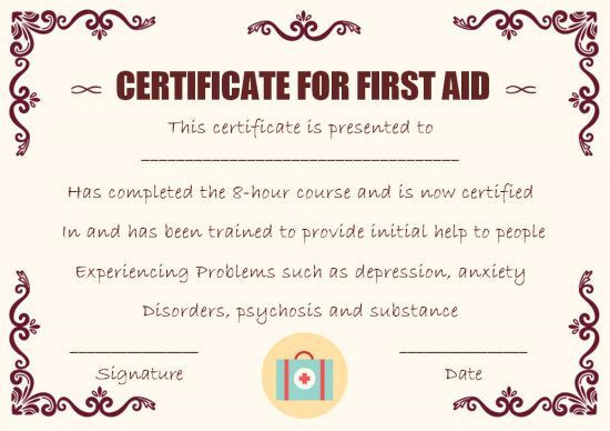First Aid Certificate Template 15 Free Examples And Sample Templates Free Download Template Sumo Certificate Templates Cpr Card Sweet Love Quotes