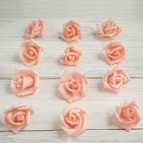 12 Pcs 2 Peach Real Touch 3d Artificial Diy Foam Rose Flower Head Table Foam Roses Flowers Plastic Flowers