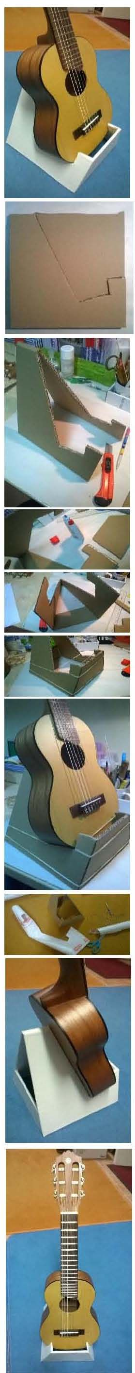 This is my DIY guitalele stand / guitar stand cardbord:   (guitar+ukulele=guitalele) you only need cardbaord, some glue, a knife and foil to cover. And an instrument ;-)
