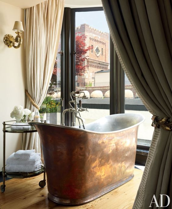 A penthouse bathroom by Robert Couturier in New York.: Soaking Tub, Skirted Bathtubs, Master Bedroom, Contemporary Bathroom, Interiors Bathrooms, Copper Tub, Copper Bathtubs