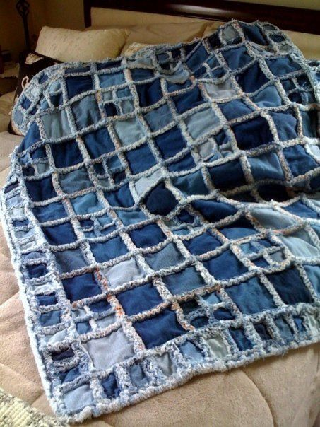 Denim Raggy Quilt made by me.
