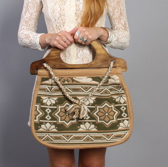 1970s Oversized KNITTING BAG / Wood by luckyvintageseattle