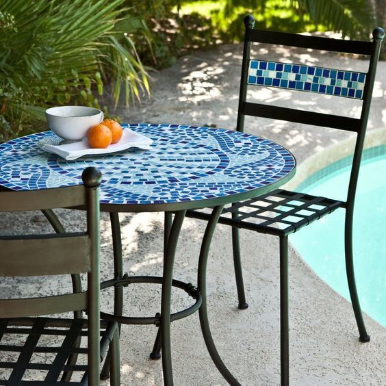 amazoncom coral coast marina mosaic bistro set outdoor and patio furniture sets amazoncom patio furniture