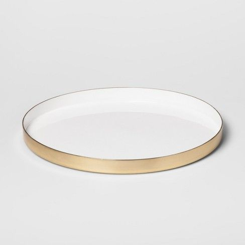 Simple Yet Chic This Round Brass Enamel Tray From Project 62 153 Has An Elegant Golden Edge That Stands O Gold Bar Cart Styling Gold Bar Cart Bar Cart Decor