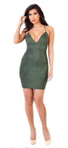Cross Back Forest Green Faux Suede Mini Dress