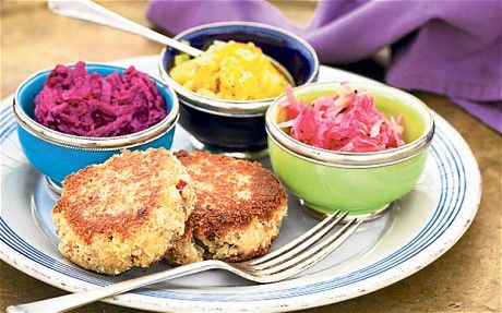 Healthy recipes mackerel fish cakes and beetroot relish