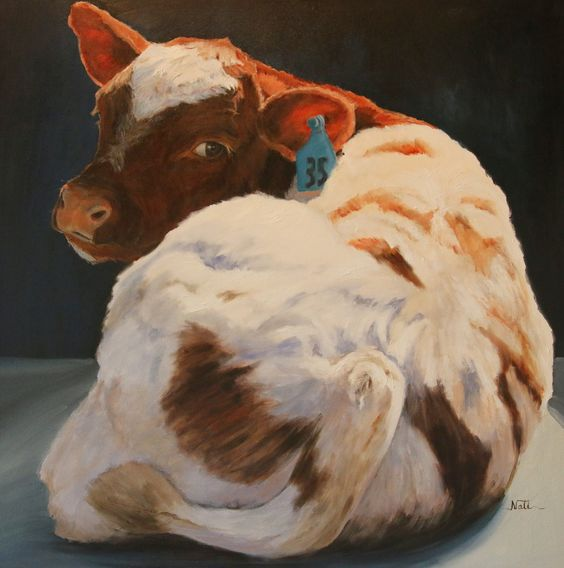 Animal/Cow Oil Painting by Susan Nall