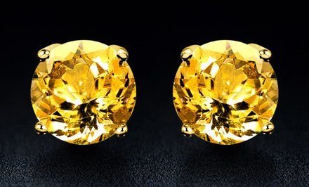 image for 2.00 CTW Genuine Citrine Earrings in 18K Gold over Sterling Silver