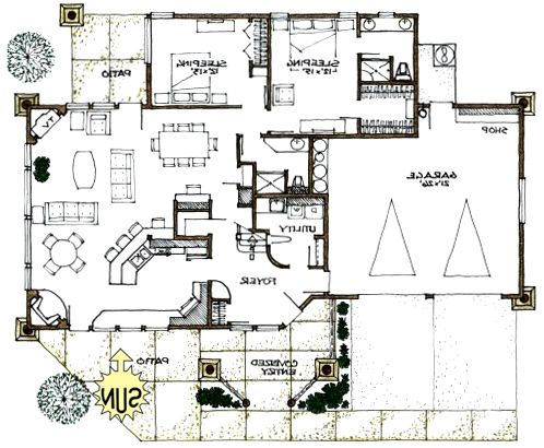 Rustic house plans passive solar and rustic houses on for Rustic home designs floor plans