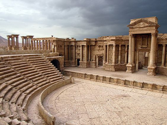 Palmyra's Theatre, buried beneath the sand until 1950's, Syria (by Julian Kaesler).
