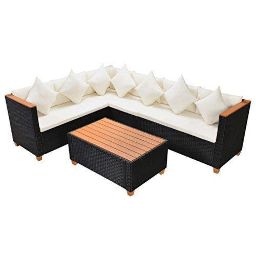 Garden Sofa Set 21 Pieces Poly Rattan Wpc Top Black Patio Lounge