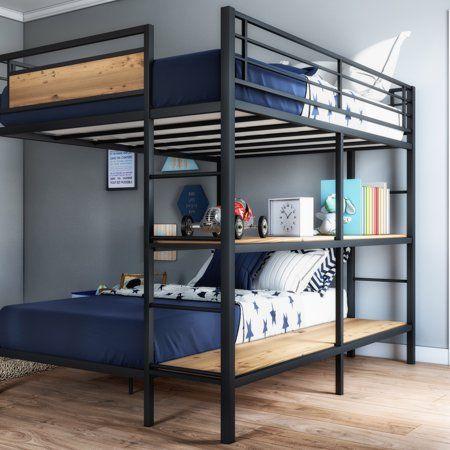 Better Homes Gardens Austen Full Over Twin Bunk Bed With Open Bookshelves Walmart Com In 2021 Loft Beds For Boys Room