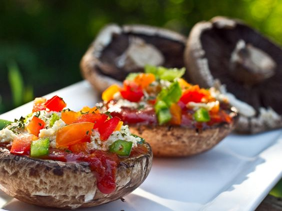 Easy Stuffed Portabella Pizza in a Cashew Basil Cheese Sauce by OhSheGlows via tastespotting:; Vegan, gluten free and good for you!  #Pizza #Portabella #OhSheGlows