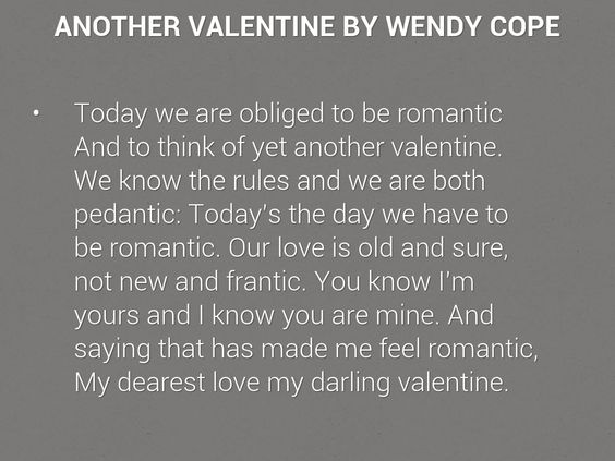 Image result for 'Another Valentine' by Wendy Cope