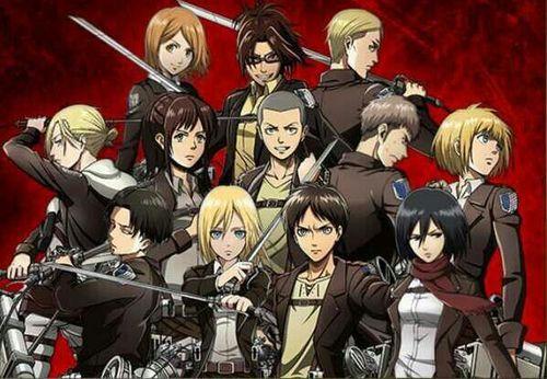 Petra, Hanji, Erwin/Irwin, Annie, Sasha, Connie, Jean, Armin, Levi, Historia/Crista, Eren, & Mikasa