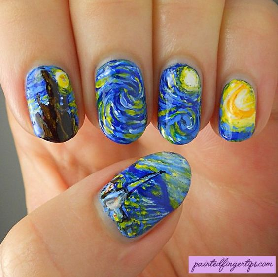 31DC2016 Day 27: Inspired by Starry Starry Night - Painted Fingertips