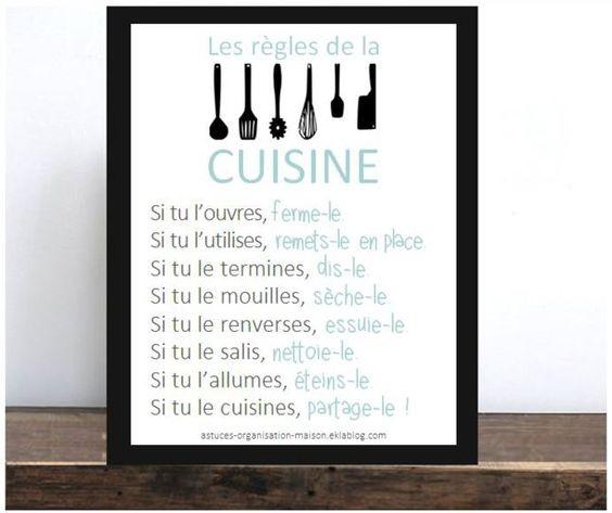 Les bons r flexes adopter pour une cuisine impeccable for Affiche pour cuisine