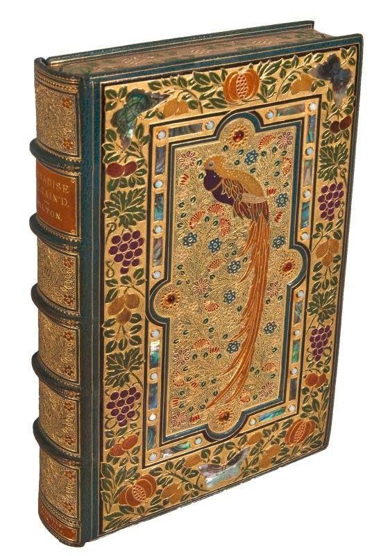 A jewelled edition of Paradise Regained by John Milton, bound in the late 1910′s or 1920s by the London binders Sangorski & Sutcliffe.