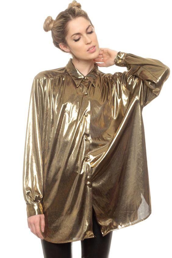 Gold ruched 80's drapé blouse