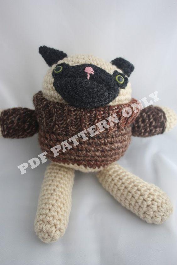 Amigurumi Free Patterns Dog : Pug Amigurumi in Sweater -- Crochet Pattern PDF ...
