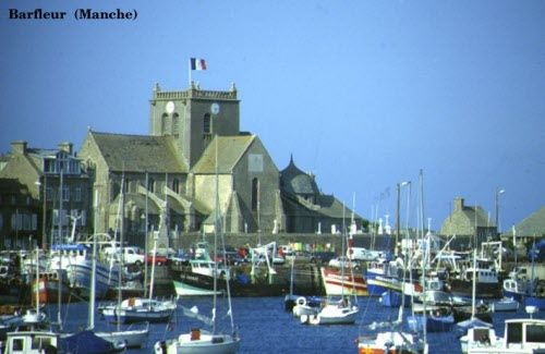 The little harbour of Barfleur East of Cherbourg on the Cotentin Peninsula, Normandy, France