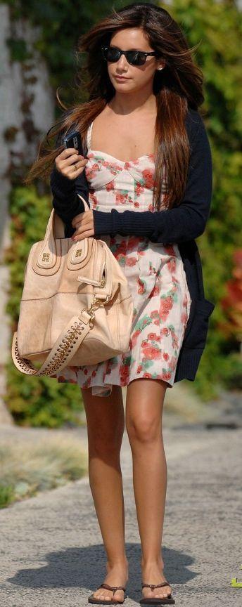 Ashley Tisdale Casual Style Brunette Dress Cardigan Bag Sunglasses