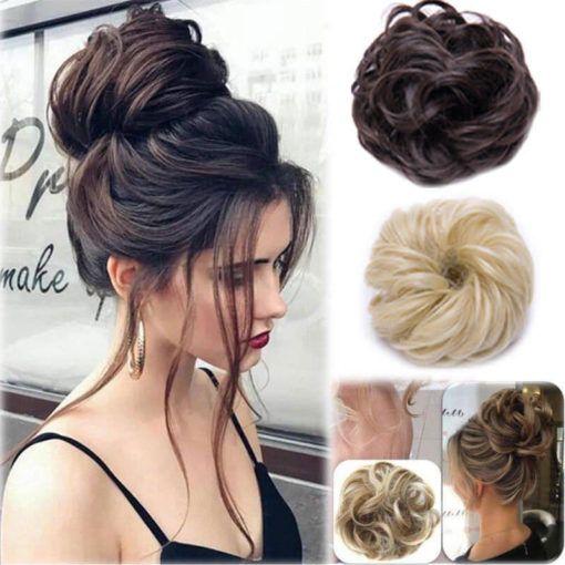Curly Messy Bun Hair Piece Scrunchie Updo Cover Hair Extensions Real As Human 1 510x510 Frisur Ideen Haarteil Hochzeitsfrisuren Lange Haare
