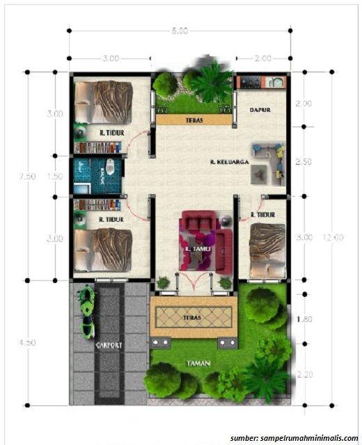 Denah Rumah 1 Lantai Ukuran 6x10 Denah Rumah The Plan Desain Rumah