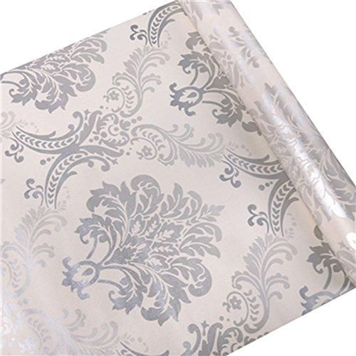 Hoyoyo 17x78 Inches Self Adhesive Contact Paper Pvc European Style Moisture Proof Drawer Pape Damask Removable Wallpaper Contact Paper Decorative Drawer Liner