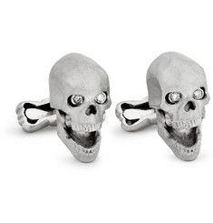 White Gold Skull Cufflinks with Diamond Eyes