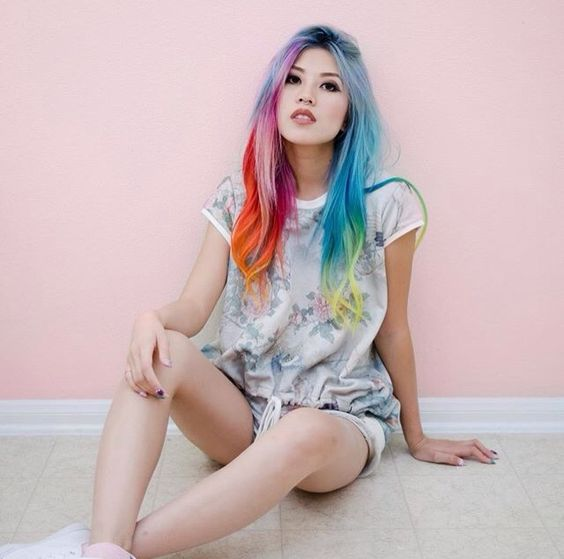 rainbow ~ multicolour hair - from red, orange to blue and yellow.