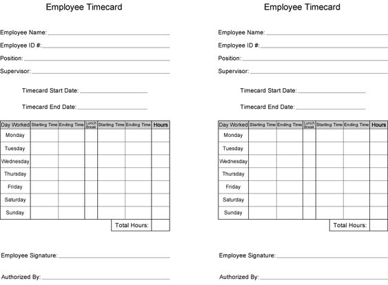 Free Time Card Template Printable employee time card