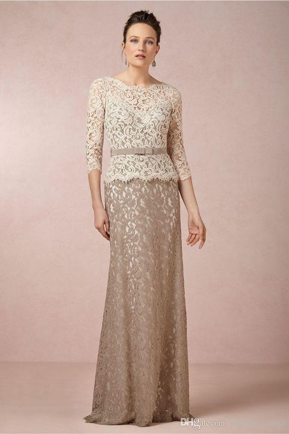 Plus Size Lace Mother Of The Bride Dresses With 3/4 Long Sleeves ...