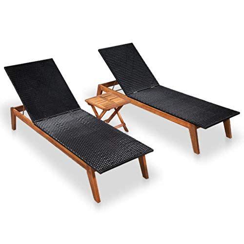 Vidaxl Chaise Longue 2 Pcs Table Resine Tressee Bois D Acacia Salon De Jardin En 2020 Balancelle Chaise Longue Jardin Bain De Soleil Transat