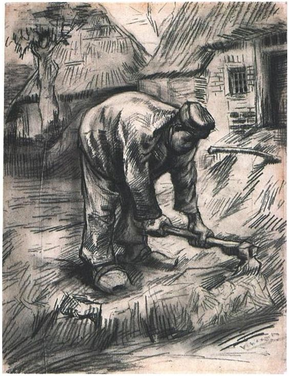 "Peasant, Chopping"" by Vincent Van Gogh. Drawing ~ Black chalk"