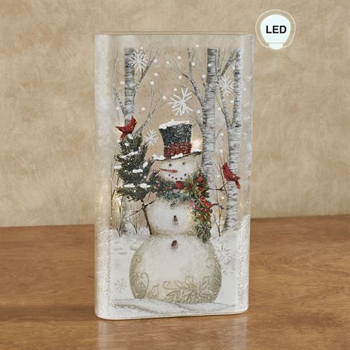 Snowman Frosted Glass Led Lighted Flat Vase Christmas Glass Blocks Christmas Wall Decor Christmas Centerpieces Diy