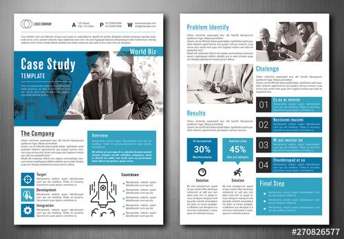 Stock Template Of Business Case Study Layout With Blue Accents Search More Similar Templates At A Case Study Design Case Study Template Business Case Template