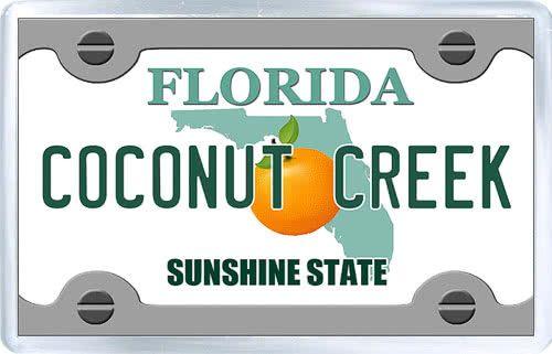 3 29 Acrylic Fridge Magnet United States License Plate Of Coconut Creek Florida