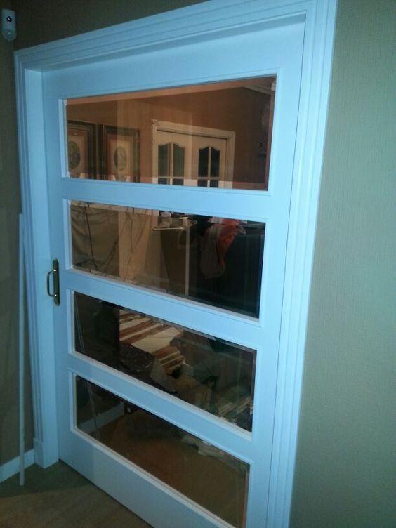 Espectacular puerta corredera tama o xxl ancho de 136 cm - Puertas con cristales biselados ...