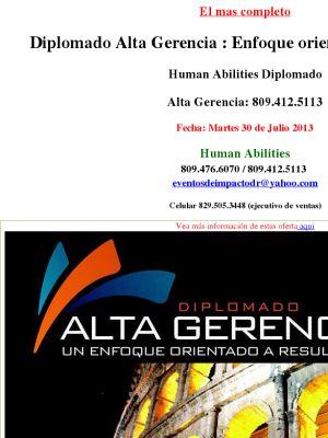 Diplomado Alta Gerencia : Enfoque orientado a resultados  Human Abilities Diplomado   Alta Gerencia: 809.412.5113