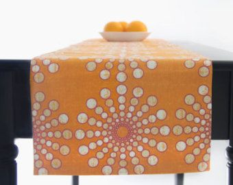 Modern Orange Table Runner, Orange White Table Runner Orange Tablecloth 60  Inch, 72 Inch