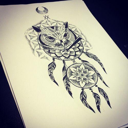 Owl Feather Dreamcatcher Tattoo