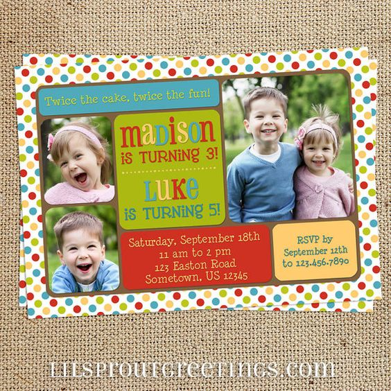 Joint / Twin Birthday Party Photo Invitation by lilsproutgreetings, $18.00