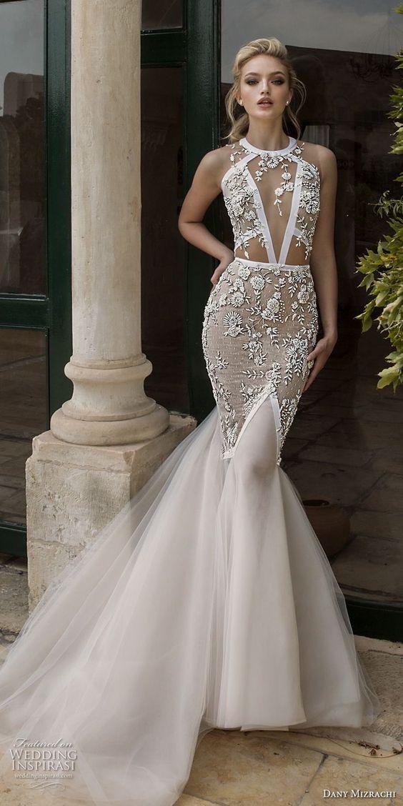 heavily embellished bodice elegant mermaid wedding dress